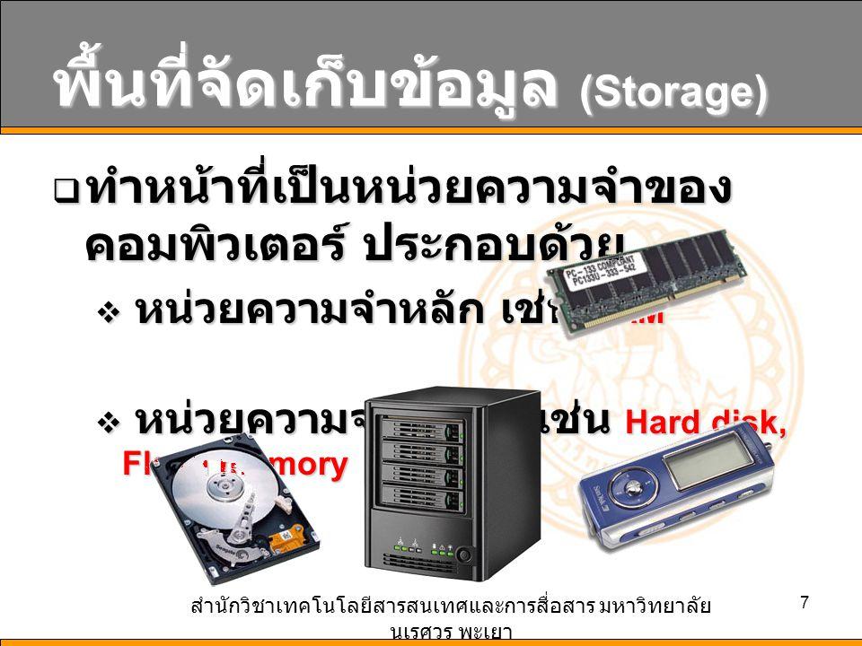 สำนักวิชาเทคโนโลยีสารสนเทศและการสื่อสาร มหาวิทยาลัย นเรศวร พะเยา 7 พื้นที่จัดเก็บข้อมูล (Storage)  ทำหน้าที่เป็นหน่วยความจำของ คอมพิวเตอร์ ประกอบด้วย  หน่วยความจำหลัก เช่น RAM  หน่วยความจำสำรอง เช่น Hard disk, Flash memory