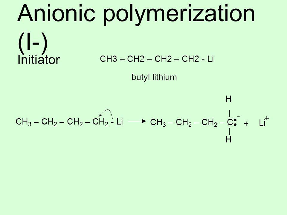 Anionic polymerization (I-) Initiator CH3 – CH2 – CH2 – CH2 - Li butyl lithium CH 3 – CH 2 – CH 2 – C + Li + CH 3 – CH 2 – CH 2 – CH 2 - Li H H -