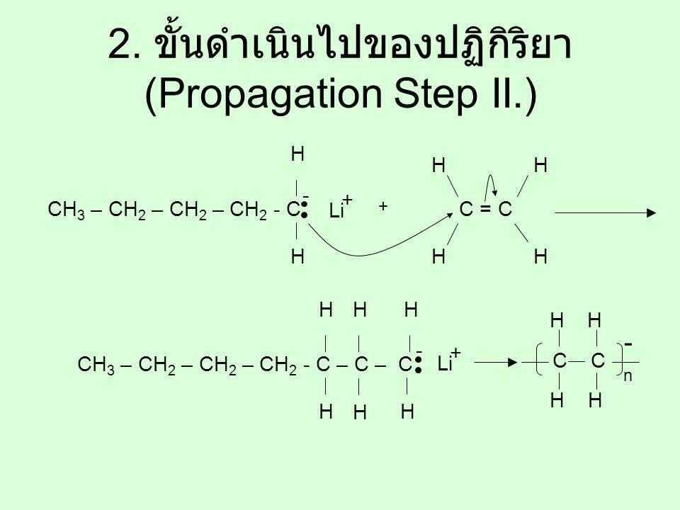 2. ขั้นดำเนินไปของปฏิกิริยา (Propagation Step II.) CH 3 – CH 2 – CH 2 – CH 2 - C Li + H H - + C = C H HH H CH 3 – CH 2 – CH 2 – CH 2 - C – C – C Li +