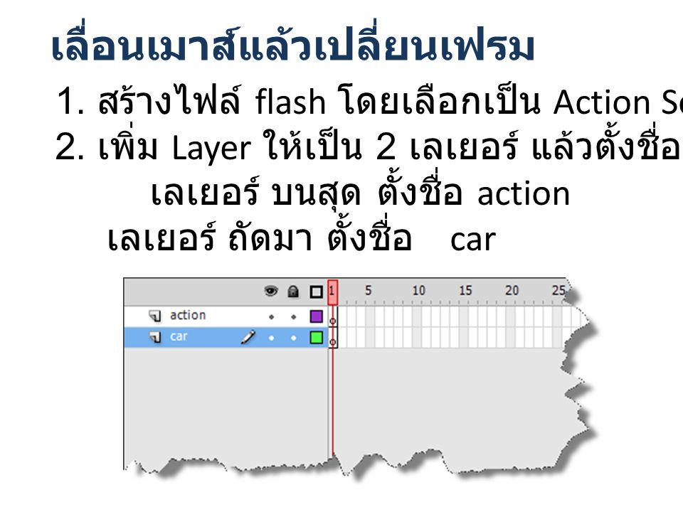 เลื่อนเมาส์แล้วเปลี่ยนเฟรม 1. สร้างไฟล์ flash โดยเลือกเป็น Action Script 3.0 2.