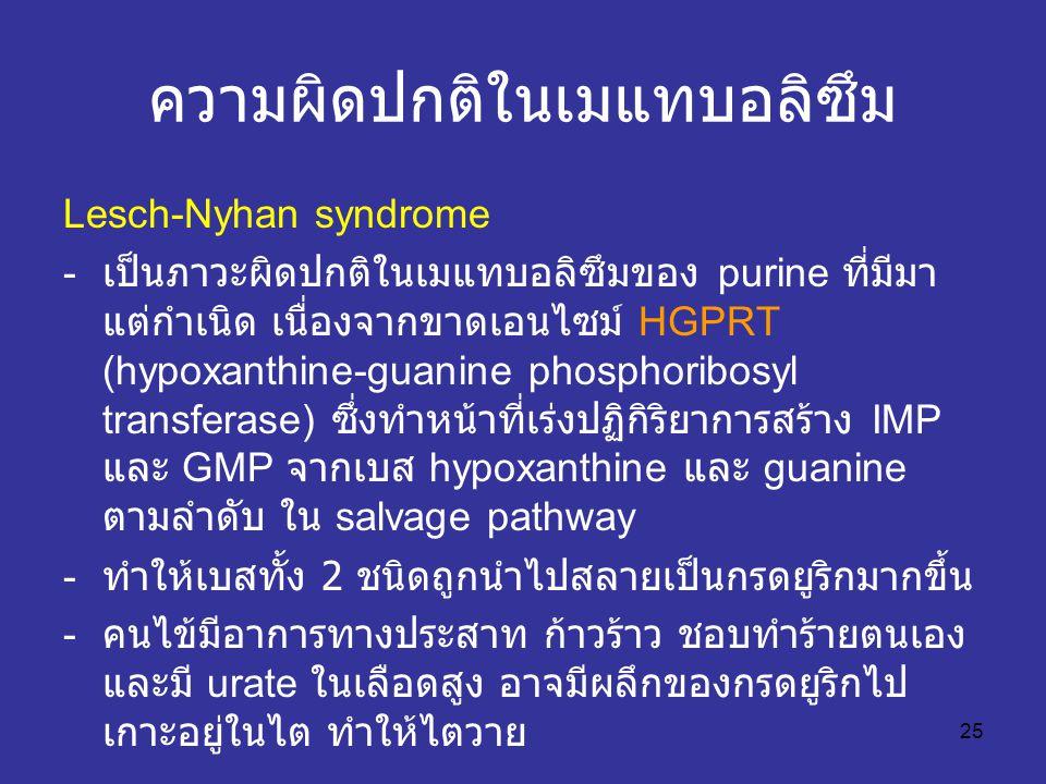 25 ความผิดปกติในเมแทบอลิซึม Lesch-Nyhan syndrome - เป็นภาวะผิดปกติในเมแทบอลิซึมของ purine ที่มีมา แต่กำเนิด เนื่องจากขาดเอนไซม์ HGPRT (hypoxanthine-guanine phosphoribosyl transferase) ซึ่งทำหน้าที่เร่งปฏิกิริยาการสร้าง IMP และ GMP จากเบส hypoxanthine และ guanine ตามลำดับ ใน salvage pathway - ทำให้เบสทั้ง 2 ชนิดถูกนำไปสลายเป็นกรดยูริกมากขึ้น - คนไข้มีอาการทางประสาท ก้าวร้าว ชอบทำร้ายตนเอง และมี urate ในเลือดสูง อาจมีผลึกของกรดยูริกไป เกาะอยู่ในไต ทำให้ไตวาย