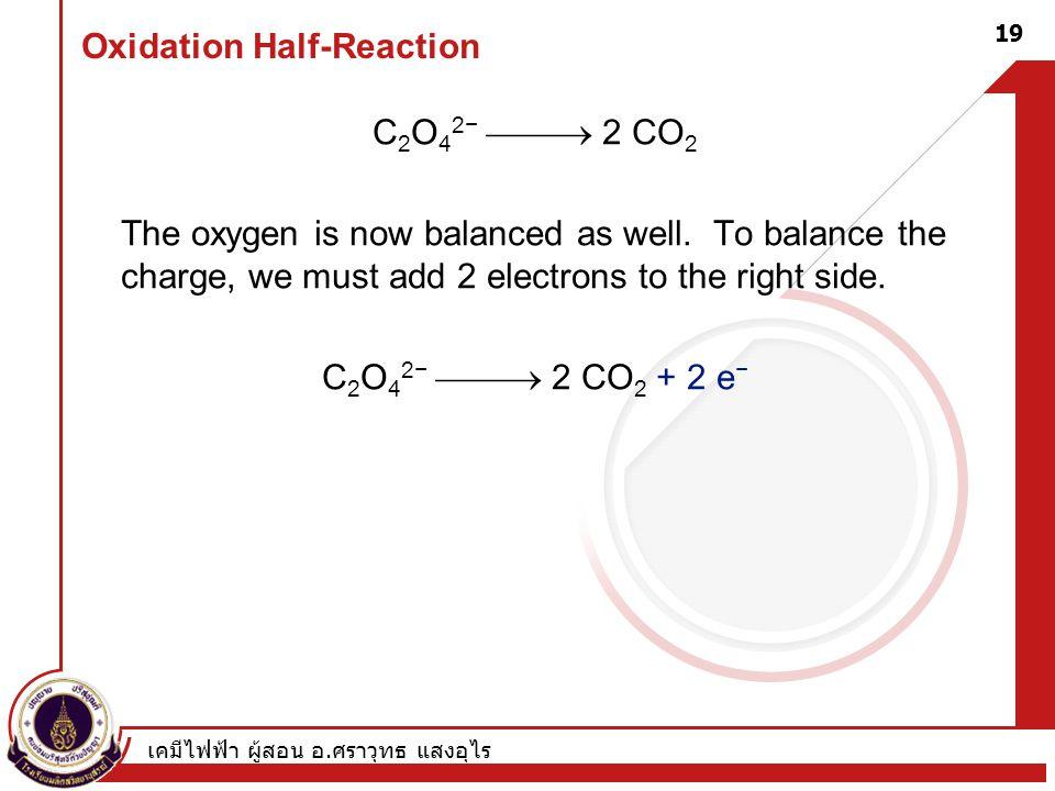 เคมีไฟฟ้า ผู้สอน อ. ศราวุทธ แสงอุไร 19 Oxidation Half-Reaction C 2 O 4 2−  2 CO 2 The oxygen is now balanced as well. To balance the charge, we mus