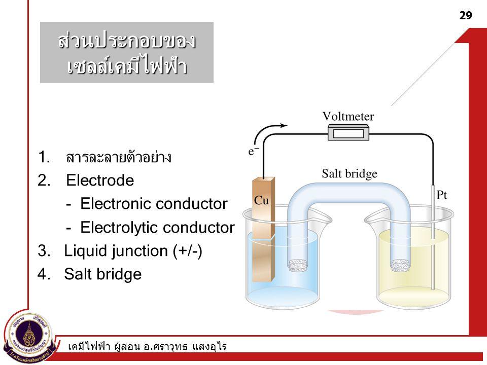 เคมีไฟฟ้า ผู้สอน อ. ศราวุทธ แสงอุไร 29 ส่วนประกอบของเซลล์เคมีไฟฟ้า 1.สารละลายตัวอย่าง 2.Electrode - Electronic conductor - Electrolytic conductor 3. L