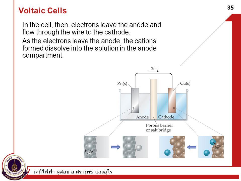 เคมีไฟฟ้า ผู้สอน อ. ศราวุทธ แสงอุไร 35 Voltaic Cells In the cell, then, electrons leave the anode and flow through the wire to the cathode. As the ele