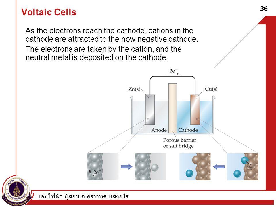 เคมีไฟฟ้า ผู้สอน อ. ศราวุทธ แสงอุไร 36 Voltaic Cells As the electrons reach the cathode, cations in the cathode are attracted to the now negative cath