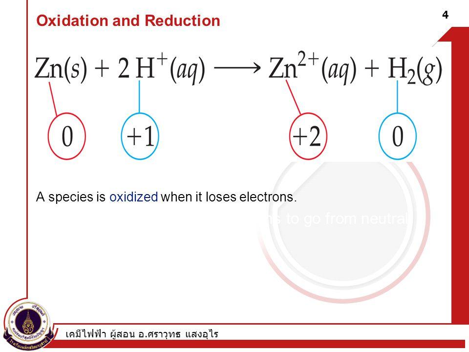 เคมีไฟฟ้า ผู้สอน อ. ศราวุทธ แสงอุไร 4 Oxidation and Reduction A species is oxidized when it loses electrons. –Here, zinc loses two electrons to go fro