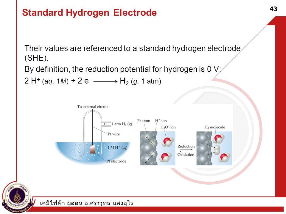 เคมีไฟฟ้า ผู้สอน อ. ศราวุทธ แสงอุไร 43 Standard Hydrogen Electrode Their values are referenced to a standard hydrogen electrode (SHE). By definition,