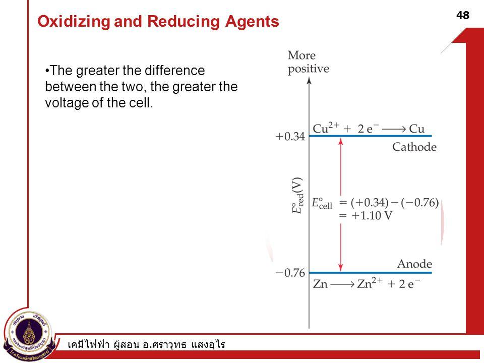 เคมีไฟฟ้า ผู้สอน อ. ศราวุทธ แสงอุไร 48 Oxidizing and Reducing Agents The greater the difference between the two, the greater the voltage of the cell.
