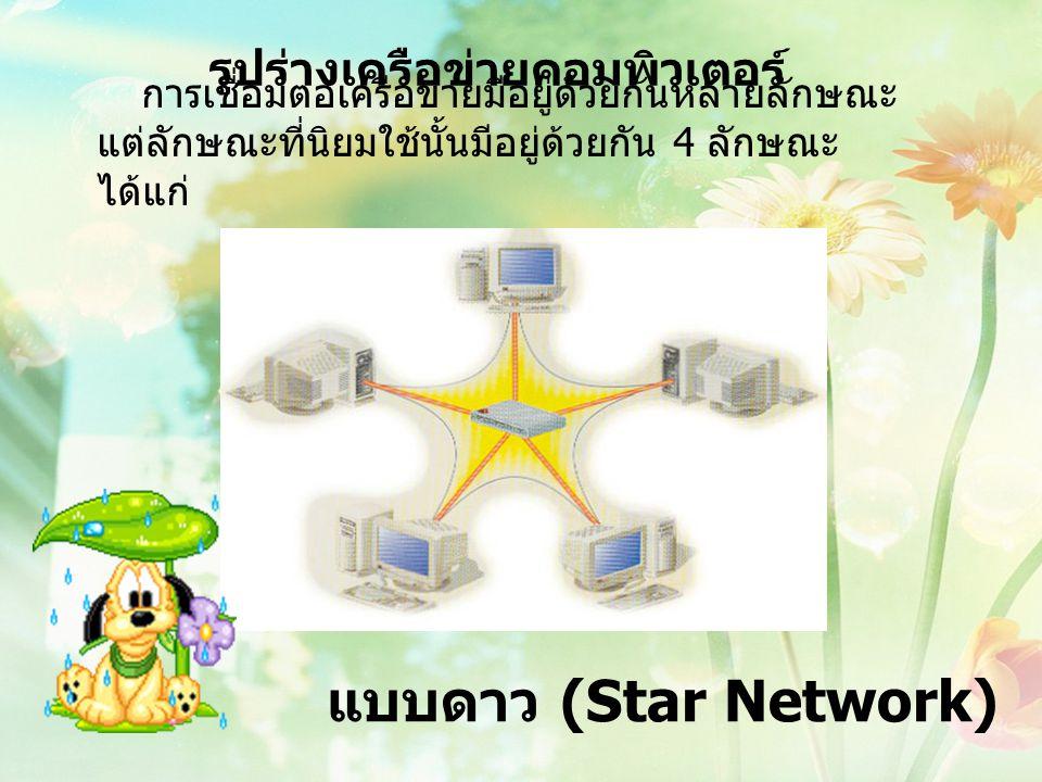 รูปร่างเครือข่ายคอมพิวเตอร์ การเชื่อมต่อเครือข่ายมีอยู่ด้วยกันหลายลักษณะ แต่ลักษณะที่นิยมใช้นั้นมีอยู่ด้วยกัน 4 ลักษณะ ได้แก่ แบบดาว (Star Network)