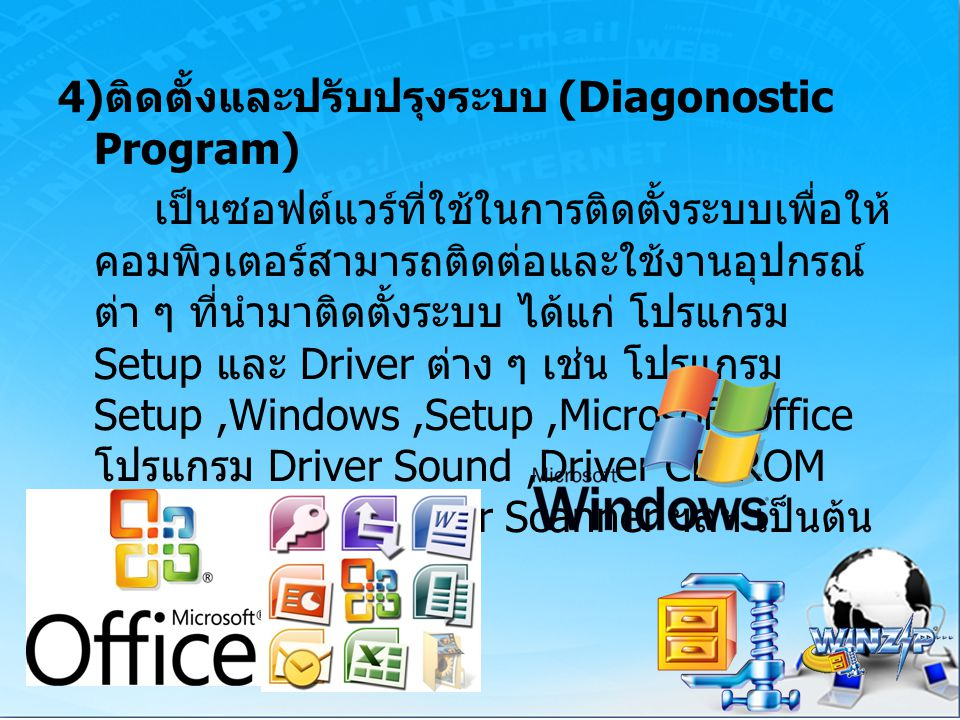 4) ติดตั้งและปรับปรุงระบบ (Diagonostic Program) เป็นซอฟต์แวร์ที่ใช้ในการติดตั้งระบบเพื่อให้ คอมพิวเตอร์สามารถติดต่อและใช้งานอุปกรณ์ ต่า ๆ ที่นำมาติดตั