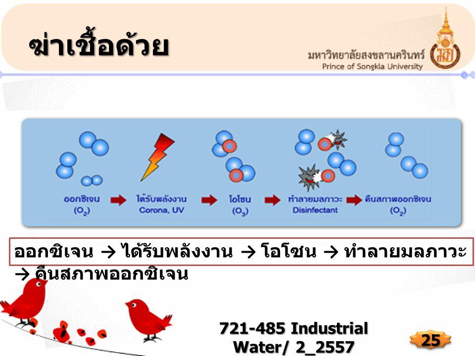 ฆ่าเชื้อด้วย 721-485 Industrial Water/ 2_2557 25 ออกซิเจน → ได้รับพลังงาน → โอโซน → ทำลายมลภาวะ → คืนสภาพออกซิเจน