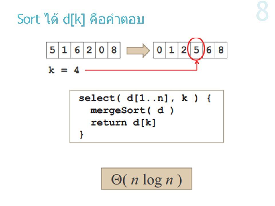 Sort ได้ d[k] คือคำตอบ 8