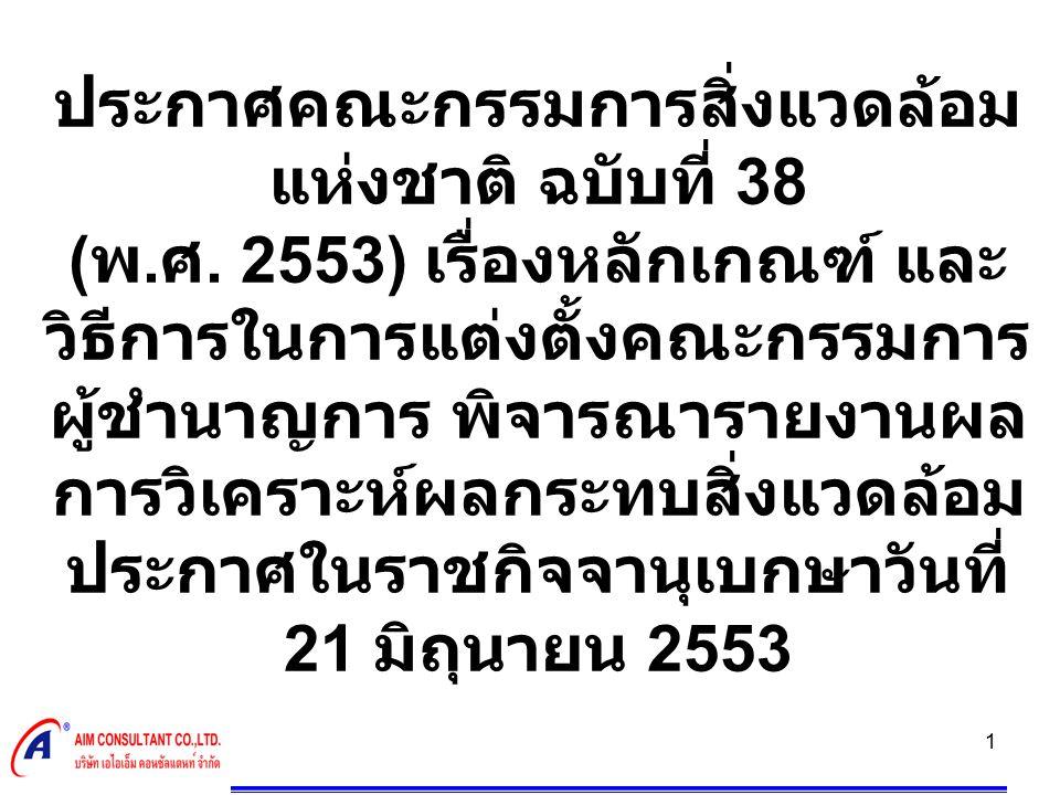2 สรุปสาระสำคัญ  ข้อ 1 ให้ยกเลิกความใน 1.4 ข้อ 1 แห่ง ประกาศคณะกรรมการสิ่งแวดล้อม แห่งชาติฉบับที่ 14 ( พ.