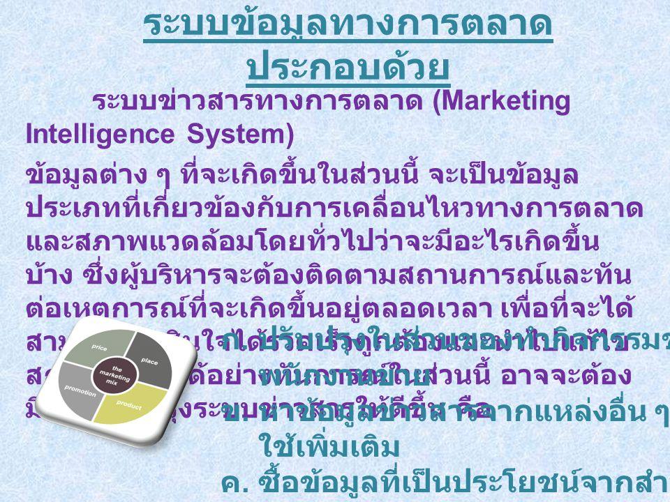 ระบบข้อมูลทางการตลาด ประกอบด้วย ระบบข่าวสารทางการตลาด (Marketing Intelligence System) ข้อมูลต่าง ๆ ที่จะเกิดขึ้นในส่วนนี้ จะเป็นข้อมูล ประเภทที่เกี่ยวข้องกับการเคลื่อนไหวทางการตลาด และสภาพแวดล้อมโดยทั่วไปว่าจะมีอะไรเกิดขึ้น บ้าง ซึ่งผู้บริหารจะต้องติดตามสถานการณ์และทัน ต่อเหตุการณ์ที่จะเกิดขึ้นอยู่ตลอดเวลา เพื่อที่จะได้ สามารถตัดสินใจได้รวดเร็วถูกต้องและนำไปแก้ไข สถานการณ์ได้อย่างทันการณ์ในส่วนนี้ อาจจะต้อง มีการปรับปรุงระบบข่าวสารให้ดีขึ้น คือ ก.ปรับปรุงในส่วนของทำกิจกรรมของ พนักงานขาย ข.หาข้อมูลข่าวสารจากแหล่งอื่น ๆ มา ใช้เพิ่มเติม ค.ซื้อข้อมูลที่เป็นประโยชน์จากสำนัก งานวิจัยภายนอก