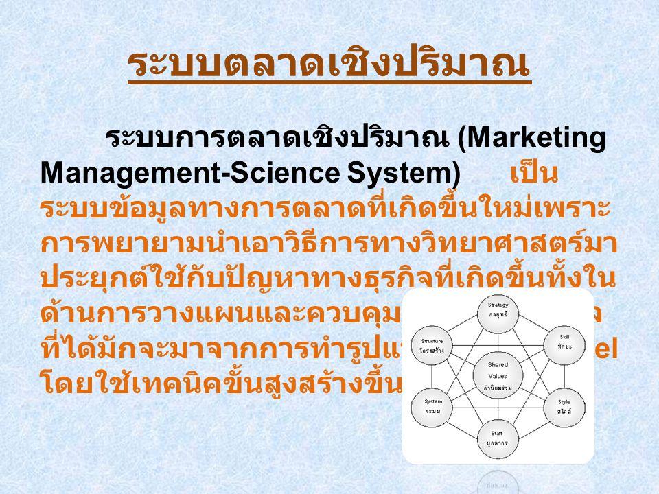 ระบบตลาดเชิงปริมาณ ระบบการตลาดเชิงปริมาณ (Marketing Management-Science System) เป็นระบบข้อมูลทางการตลาดที่ เกิดขึ้นใหม่เพราะการพยายามนำเอาวิธีการ ทางวิทยาศาสตร์มาประยุกต์ใช้กับปัญหาทาง ธุรกิจที่เกิดขึ้นทั้งในด้านการวางแผนและ ควบคุมส่วนใหญ่ ข้อมูลที่ได้มักจะมาจากการ ทำรูปแบบจำลอง Model โดยใช้เทคนิคขั้นสูง สร้างขึ้น