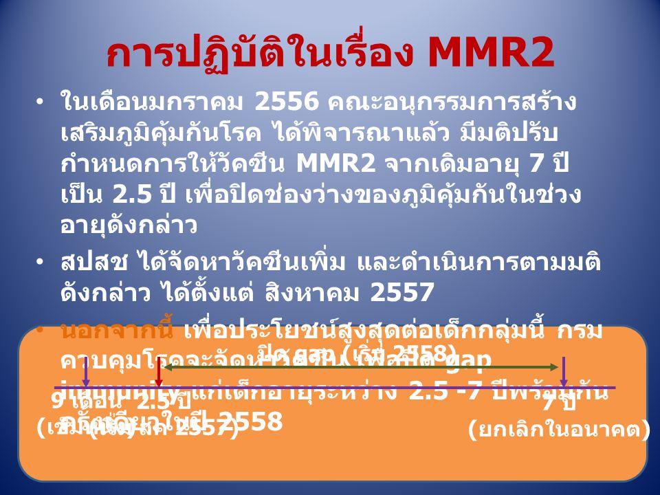 การปฏิบัติในเรื่อง MMR2 ในเดือนมกราคม 2556 คณะอนุกรรมการสร้าง เสริมภูมิคุ้มกันโรค ได้พิจารณาแล้ว มีมติปรับ กำหนดการให้วัคซีน MMR2 จากเดิมอายุ 7 ปี เป็