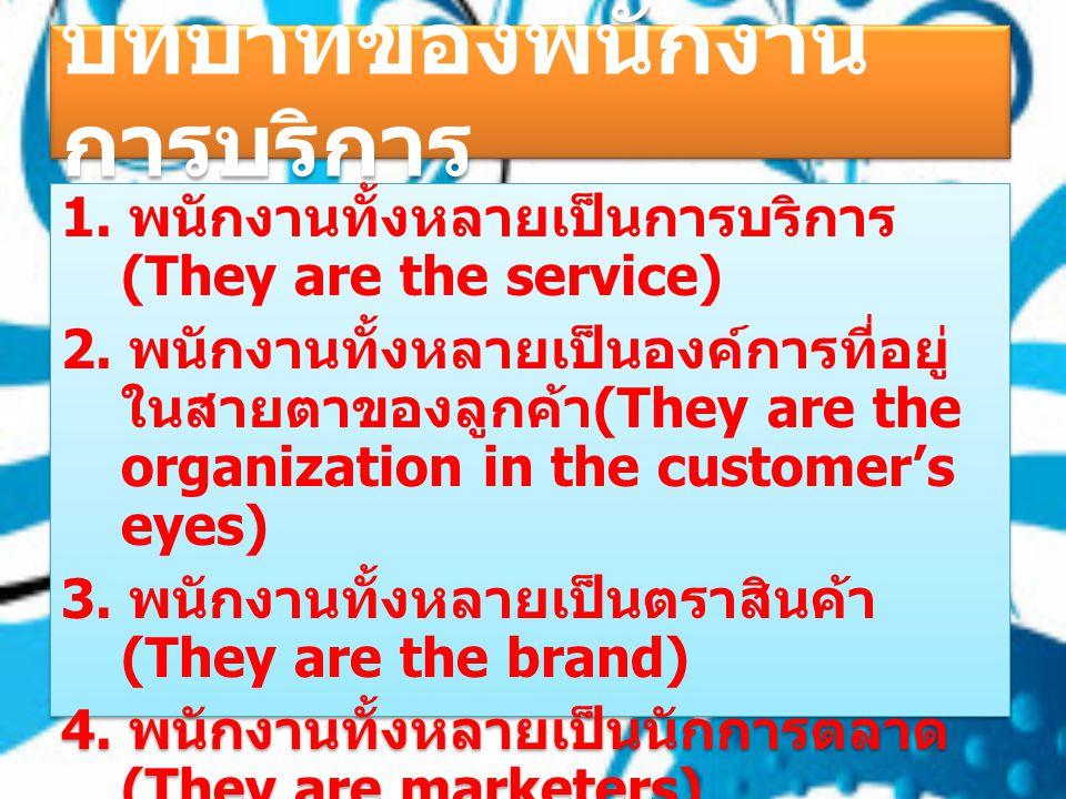 บทบาทของพนักงานการ บริการ 1. พนักงานทั้งหลายเป็นการบริการ (They are the service) 2. พนักงานทั้งหลายเป็นองค์การที่อยู่ใน สายตาของลูกค้า (They are the o