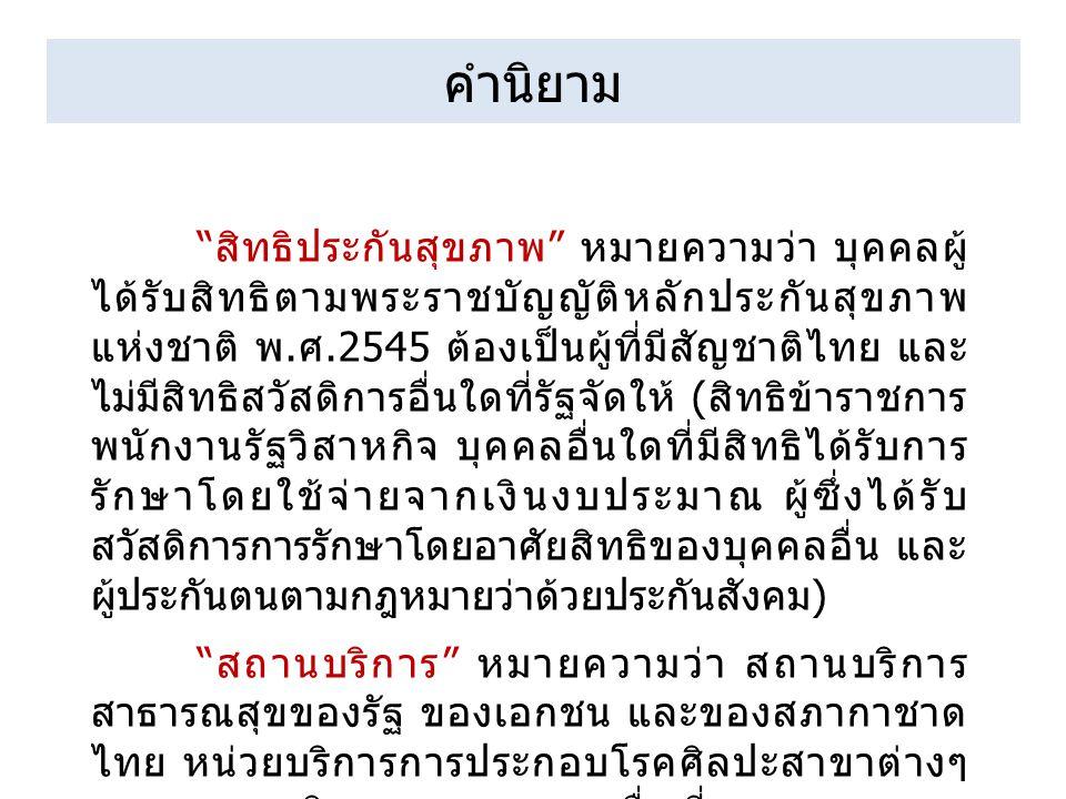 """คำนิยาม """" สิทธิประกันสุขภาพ """" หมายความว่า บุคคลผู้ ได้รับสิทธิตามพระราชบัญญัติหลักประกันสุขภาพ แห่งชาติ พ. ศ.2545 ต้องเป็นผู้ที่มีสัญชาติไทย และ ไม่มี"""