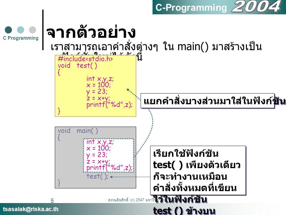 สงวนลิขสิทธิ์ (c) 2547 มหาวิทยาลัยราชภัฏสงขลา 5 จากตัวอย่าง เราสามารถเอาคำสั่งต่างๆ ใน main() มาสร้างเป็น ฟังก์ชั่นใหม่ได้ดังนี้ C Programming tsasalak@riska.ac.th C-Programming #include void test( ) { int x,y,z; x = 100; y = 23; z = x+y; printf( %d ,z); } void main( ) { test( ); } เรียกใช้ฟังก์ชัน test( ) เพียงตัวเดียว ก็จะทำงานเหมือน คำสั่งทั้งหมดที่เขียน ไว้ในฟังก์ชัน test () ข้างบน เรียกใช้ฟังก์ชัน test( ) เพียงตัวเดียว ก็จะทำงานเหมือน คำสั่งทั้งหมดที่เขียน ไว้ในฟังก์ชัน test () ข้างบน int x,y,z; x = 100; y = 23; z = x+y; printf( %d ,z); แยกคำสั่งบางส่วนมาใส่ในฟังก์ชัน ชื่อ test ( )