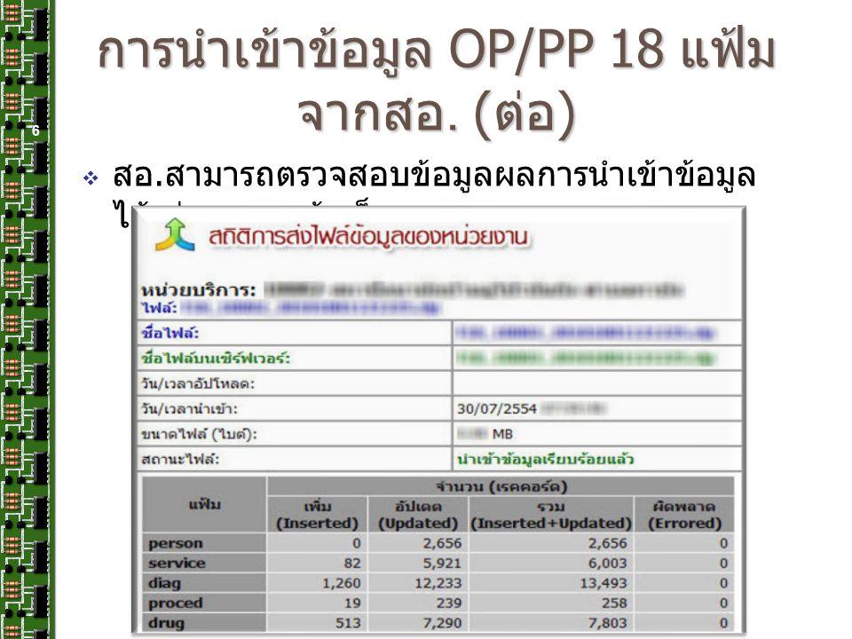 การนำเข้าข้อมูล OP/PP 18 แฟ้ม จากสอ. ( ต่อ ) 6  สอ. สามารถตรวจสอบข้อมูลผลการนำเข้าข้อมูล ได้ ผ่านทางหน้าเว็บ