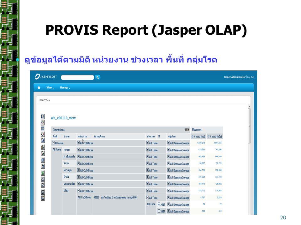 ดูข้อมูลได้ตามมิติ หน่วยงาน ช่วงเวลา พื้นที่ กลุ่มโรค 26 PROVIS Report (Jasper OLAP)