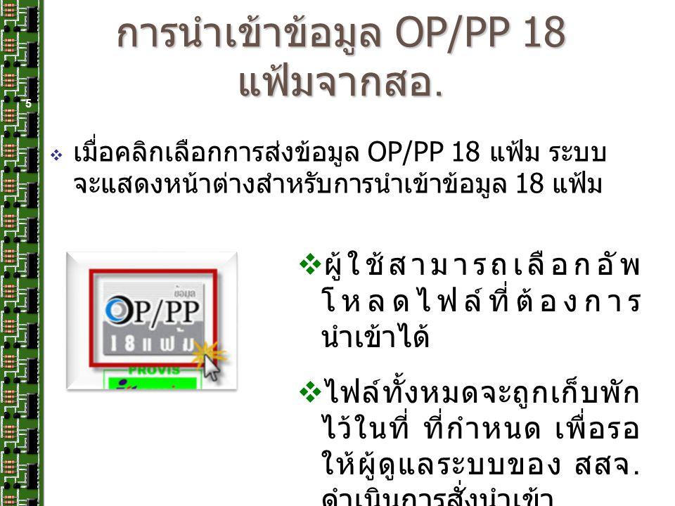 การนำเข้าข้อมูล OP/PP 18 แฟ้มจากสอ. 5  ผู้ใช้สามารถเลือกอัพ โหลดไฟล์ที่ต้องการ นำเข้าได้  ไฟล์ทั้งหมดจะถูกเก็บพัก ไว้ในที่ ที่กำหนด เพื่อรอ ให้ผู้ดู
