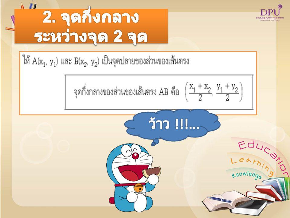 จงหาสมการของระยะทางระหว่าง จุด ( 1,7 ) และ ( -5,2 ) วิธีทำ d = = 7.8102 หมายเหตุ เป็นคำตอบที่ถูกต้องแต่ 7.8102 เป็นค่า โดยประมาณ จงหาสมการของระยะทางระหว่าง จุด ( 1,7 ) และ ( -5,2 ) วิธีทำ d = = = 7.8102 หมายเหตุ เป็นคำตอบที่ถูกต้องแต่ 7.8102 เป็นค่า โดยประมาณ