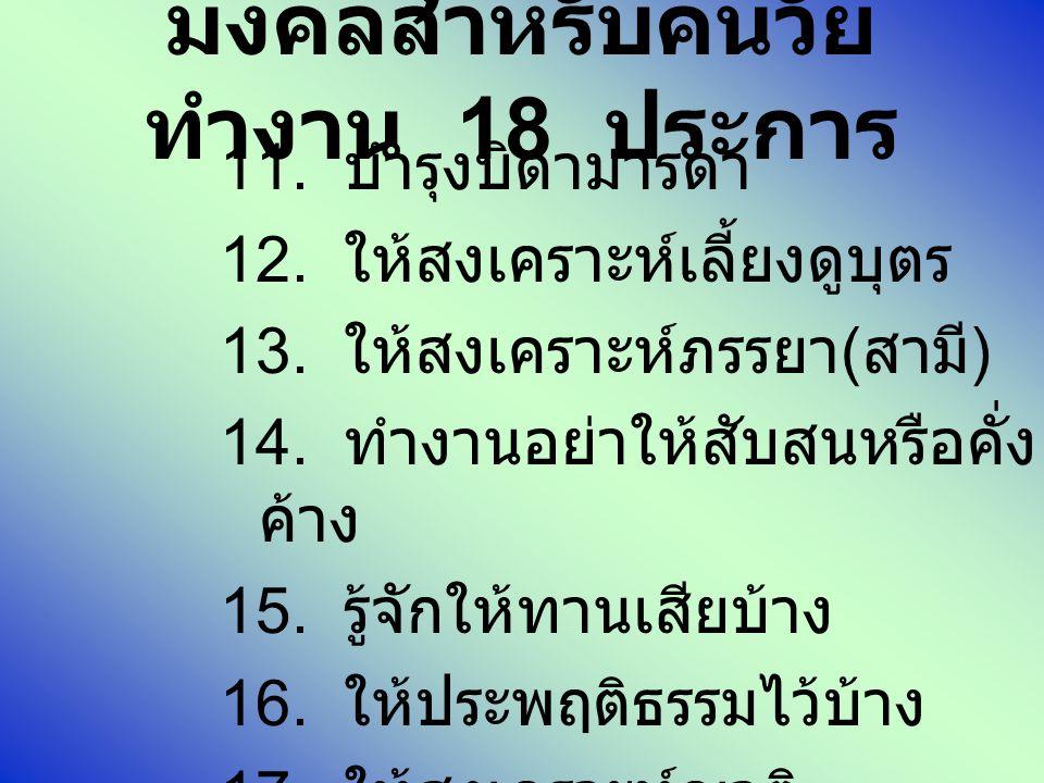 มงคลสำหรับคนวัย ทำงาน 18 ประการ 11. บำรุงบิดามารดา 12. ให้สงเคราะห์เลี้ยงดูบุตร 13. ให้สงเคราะห์ภรรยา ( สามี ) 14. ทำงานอย่าให้สับสนหรือคั่ง ค้าง 15.