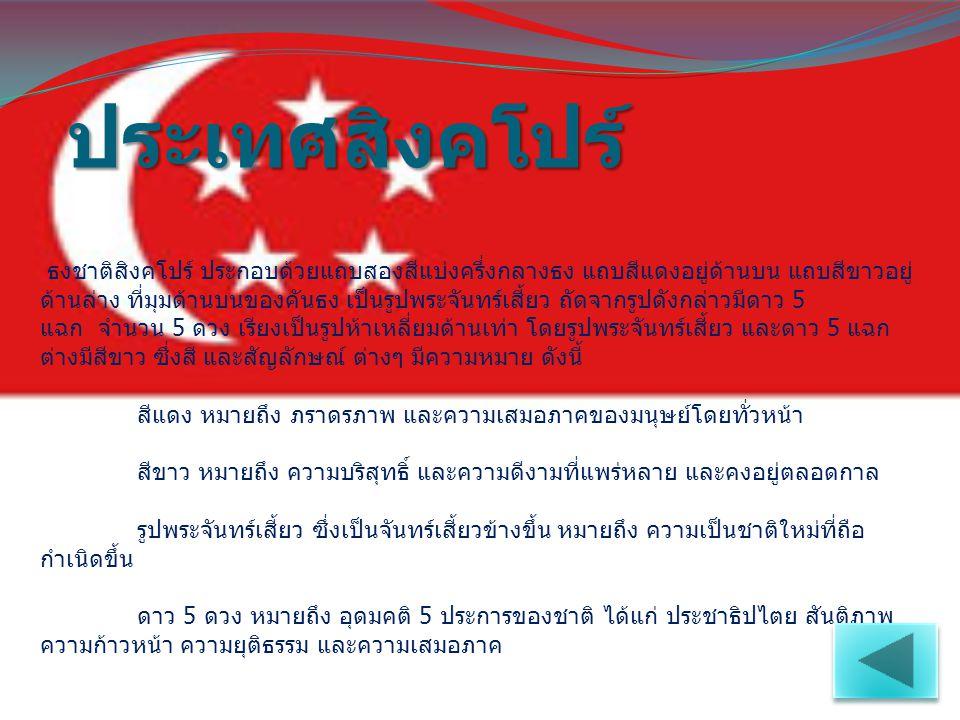 ประเทศสิงคโปร์ ธงชาติสิงคโปร์ ประกอบด้วยแถบสองสีแบ่งครึ่งกลางธง แถบสีแดงอยู่ด้านบน แถบสีขาวอยู่ ด้านล่าง ที่มุมด้านบนของคันธง เป็นรูปพระจันทร์เสี้ยว ถ