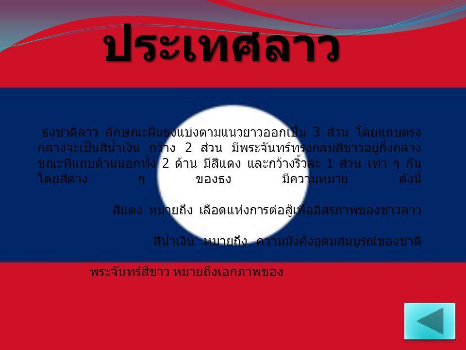 ประเทศ มาเลเซีย ธงชาติมาเลเซีย มีแถบสีแดงสลับสีขาวรวม 14 แถบ แต่ละแถบมีความกว้างเท่ากัน ที่มุมธงด้านคันธงมีรูป สี่เหลี่ยมผืนผ้าสีน้ำเงินกว้าง 8 ใน 14 ส่วนของผืนธงด้านกว้าง และยาวกึ่งหนึ่งของผืนธงด้านยาว ภายในรูป สี่เหลี่ยมผืนผ้าดังกล่าว มีเครื่องหมายพระจันทร์เสี้ยว และดาว 14 แฉก ซึ่งสี และสัญลักษณ์ ต่าง ๆ มี ความหมาย ดังนี้ แถบริ้วสีแดง และสีขาว ทั้ง 14 ริ้ว หมายถึง สถานะอันเสมอภาคของรัฐสมาชิกทั้ง 13 รัฐ ภายในประเทศมาเลเซีย ดาว 14 แฉก หมายถึง ความเป็นเอกภาพในหมู่รัฐดังกล่าวทั้งหมด พระจันทร์เสี้ยว หมายถึง ศาสนาอิสลามอันเป็นศาสนาประจำชาติ สีเหลืองในพระจันทร์เสี้ยว และดาว 14 แฉก สื่อถึง ผู้เป็นประมุขแห่งสหพันธรัฐ สีน้ำเงิน หมายถึง ความสามัคคีของชาวมาเลเซีย
