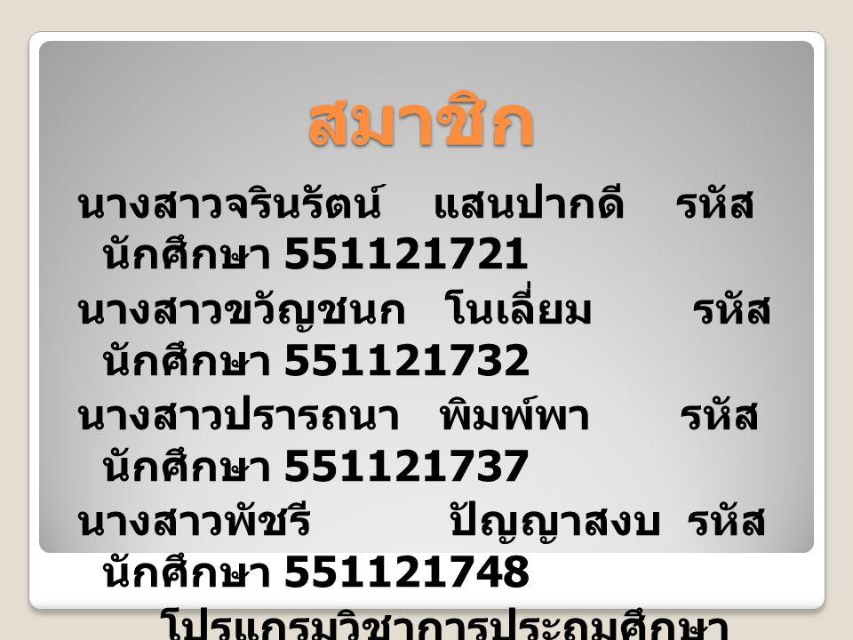 สมาชิก นางสาวจรินรัตน์ แสนปากดี รหัส นักศึกษา 551121721 นางสาวขวัญชนก โนเลี่ยม รหัส นักศึกษา 551121732 นางสาวปรารถนา พิมพ์พา รหัส นักศึกษา 551121737 นางสาวพัชรี ปัญญาสงบ รหัส นักศึกษา 551121748 โปรแกรมวิชาการประถมศึกษา หมู่เรียน 5511217