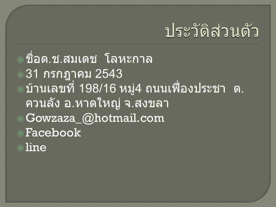  ชื่อด. ช. สมเดช โลหะกาล  31 กรกฎาคม 2543  บ้านเลขที่ 198/16 หมู่ 4 ถนนเฟื่องประชา ต.