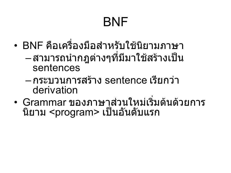 BNF BNF คือเครื่องมือสำหรับใช้นิยามภาษา – สามารถนำกฎต่างๆที่มีมาใช้สร้างเป็น sentences – กระบวนการสร้าง sentence เรียกว่า derivation Grammar ของภาษาส่วนใหม่เริ่มต้นด้วยการ นิยาม เป็นอันดับแรก