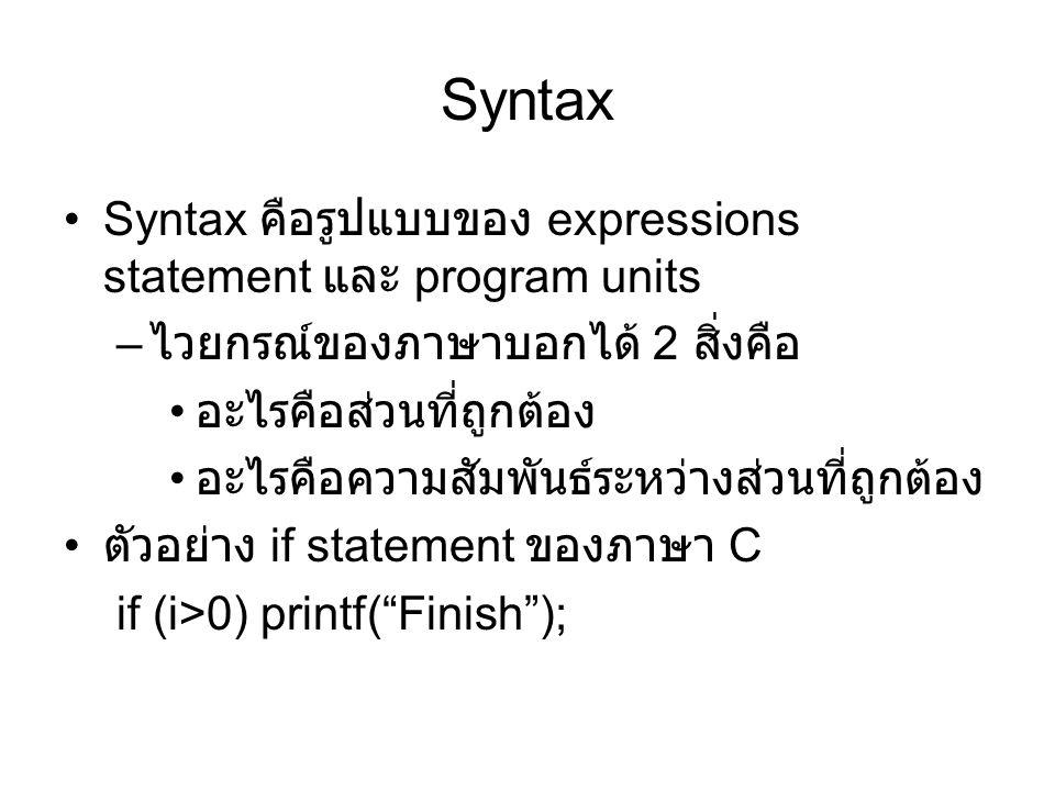 Syntax Syntax คือรูปแบบของ expressions statement และ program units – ไวยกรณ์ของภาษาบอกได้ 2 สิ่งคือ อะไรคือส่วนที่ถูกต้อง อะไรคือความสัมพันธ์ระหว่างส่วนที่ถูกต้อง ตัวอย่าง if statement ของภาษา C if (i>0) printf( Finish );