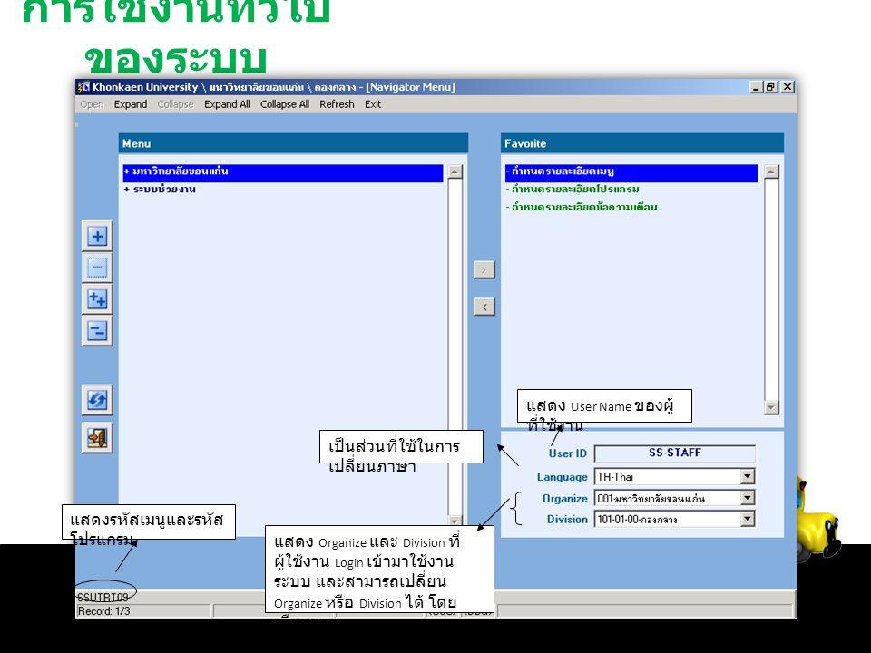 การใช้งานทั่วไป ของระบบ แสดงรหัสเมนูและรหัส โปรแกรม แสดง User Name ของผู้ ที่ใช้งาน เป็นส่วนที่ใช้ในการ เปลี่ยนภาษา แสดง Organize และ Division ที่ ผู้