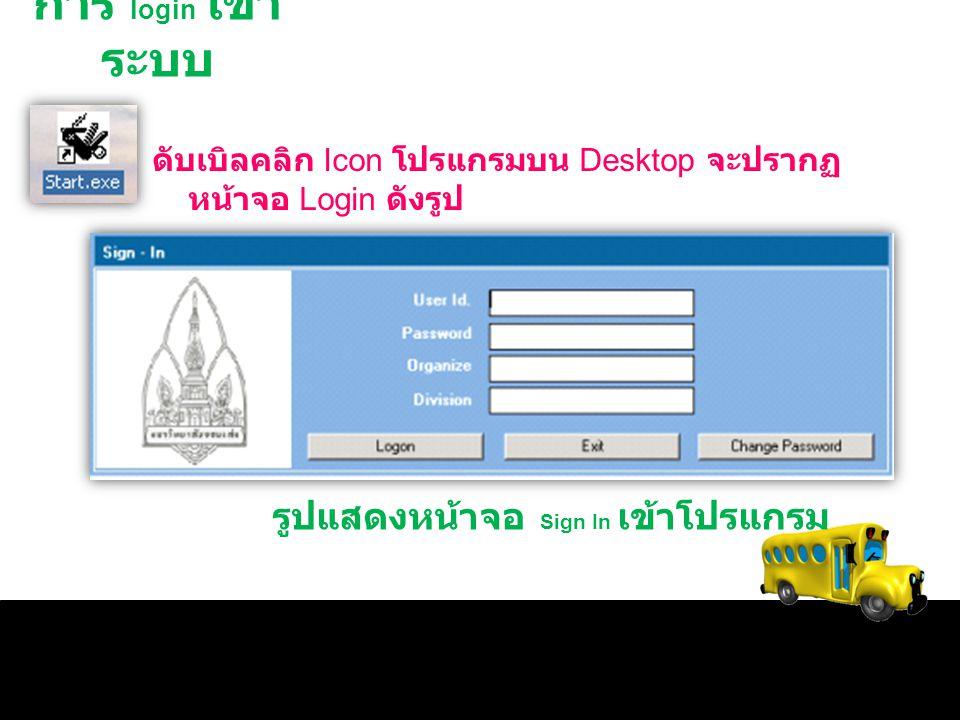 การ login เข้า ระบบ ดับเบิลคลิก Icon โปรแกรมบน Desktop จะปรากฏ หน้าจอ Login ดังรูป รูปแสดงหน้าจอ Sign In เข้าโปรแกรม