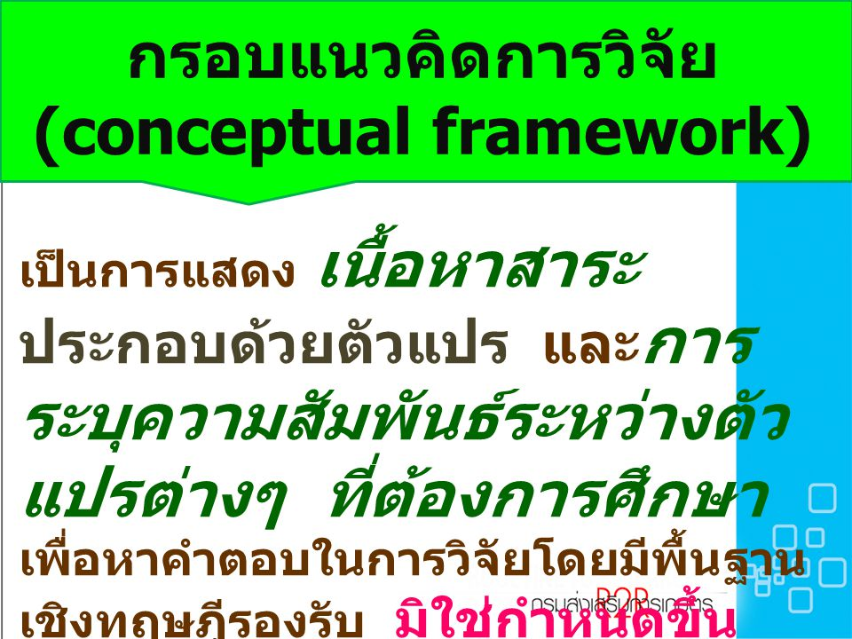 กรอบแนวคิดการวิจัย (conceptual framework) เป็นการแสดง เนื้อหาสาระ ประกอบด้วยตัวแปร และ การ ระบุความสัมพันธ์ระหว่างตัว แปรต่างๆ ที่ต้องการศึกษา เพื่อหาคำตอบในการวิจัยโดยมีพื้นฐาน เชิงทฤษฎีรองรับ มิใช่กำหนดขึ้น โดยปราศจากหลักเกณฑ์