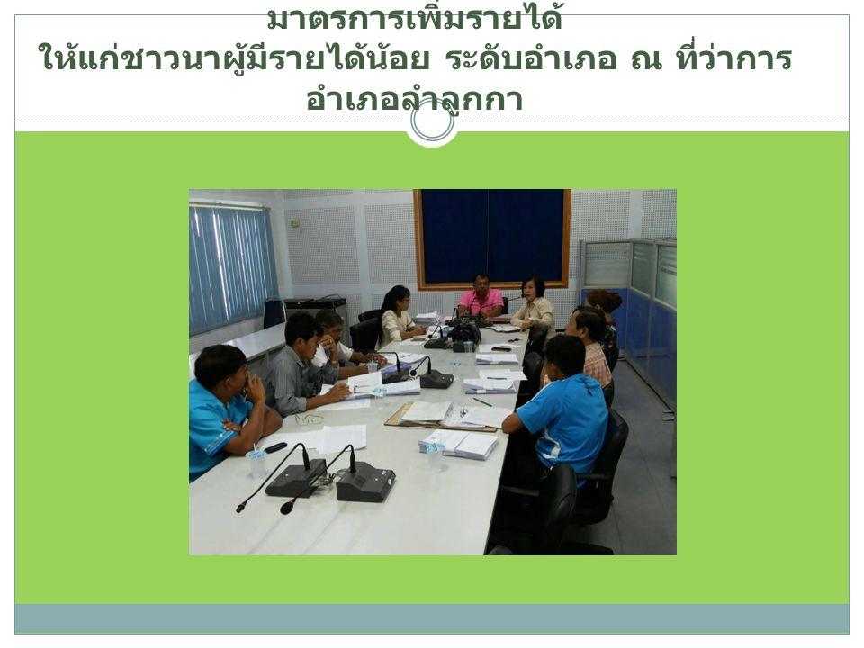 วันที่ 28 ตุลาคม 2557 ร่วมประชุมคณะกรรมการบริหาร มาตรการเพิ่มรายได้ ให้แก่ชาวนาผู้มีรายได้น้อย ระดับอำเภอ ณ ที่ว่าการ อำเภอลำลูกกา