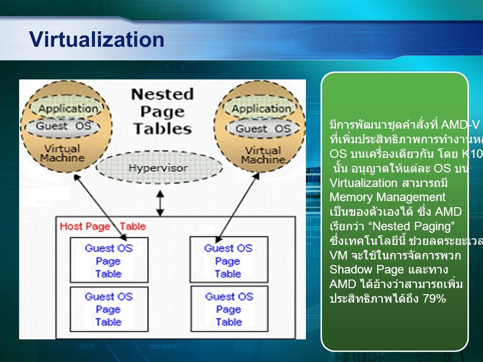 Virtualization มีการพัฒนาชุดคำสั่งที่ AMD-V ที่เพิ่มประสิทธิภาพการทำงานหลาย OS บนเครื่องเดียวกัน โดย K10 นั้น อนุญาตให้แต่ละ OS บน Virtualization สามา