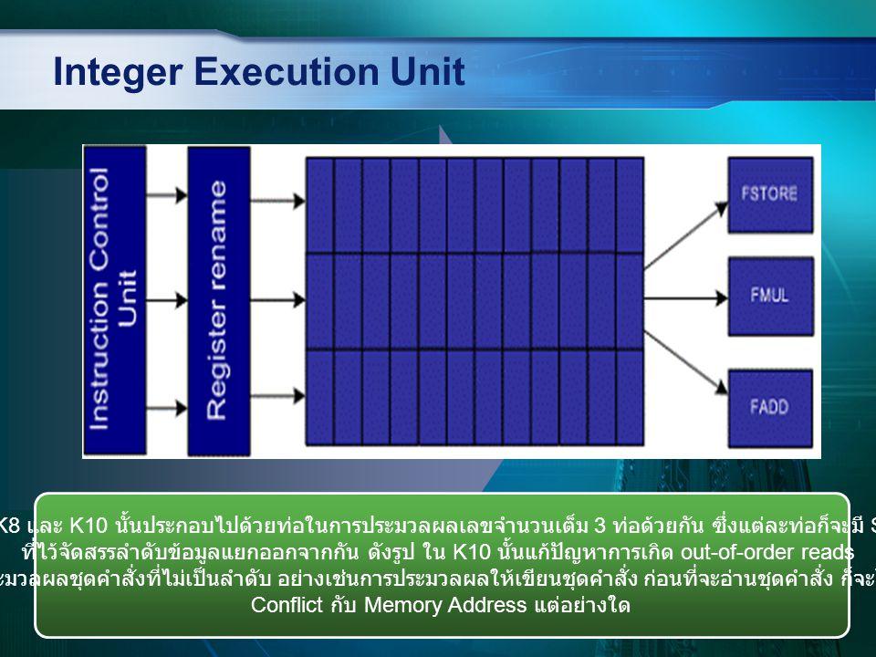 Integer Execution Unit IEU ของ K8 และ K10 นั้นประกอบไปด้วยท่อในการประมวลผลเลขจำนวนเต็ม 3 ท่อด้วยกัน ซึ่งแต่ละท่อก็จะมี Scheduler ที่ไว้จัดสรรลำดับข้อม