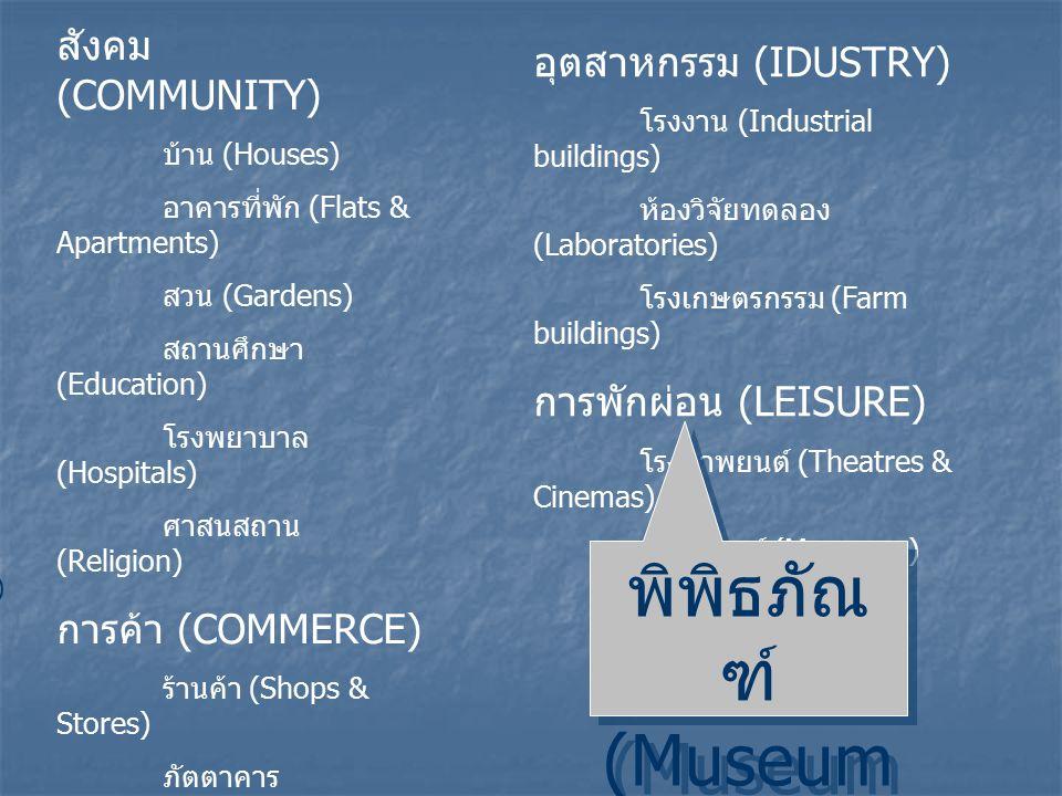 สังคม (COMMUNITY) บ้าน (Houses) อาคารที่พัก (Flats & Apartments) สวน (Gardens) สถานศึกษา (Education) โรงพยาบาล (Hospitals) ศาสนสถาน (Religion) การค้า (COMMERCE) ร้านค้า (Shops & Stores) ภัตตาคาร (Restaurants) โรงแรม (Hotels) สำนักงาน (Office buildings) ธนาคาร (Banks) สนามบิน (Airports) อุตสาหกรรม (IDUSTRY) โรงงาน (Industrial buildings) ห้องวิจัยทดลอง (Laboratories) โรงเกษตรกรรม (Farm buildings) การพักผ่อน (LEISURE) โรงภาพยนต์ (Theatres & Cinemas) พิพิธภัณฑ์ (Museums) พิพิธภัณ ฑ์ (Museum s) พิพิธภัณ ฑ์ (Museum s) )
