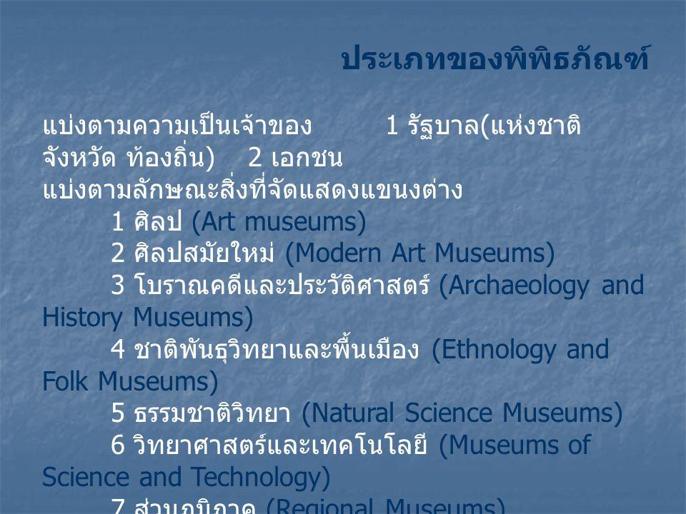 ประเภทของพิพิธภัณฑ์ แบ่งตามความเป็นเจ้าของ 1 รัฐบาล ( แห่งชาติ จังหวัด ท้องถิ่น ) 2 เอกชน แบ่งตามลักษณะสิ่งที่จัดแสดงแขนงต่าง 1 ศิลป (Art museums) 2 ศิลปสมัยใหม่ (Modern Art Museums) 3 โบราณคดีและประวัติศาสตร์ (Archaeology and History Museums) 4 ชาติพันธุวิทยาและพื้นเมือง (Ethnology and Folk Museums) 5 ธรรมชาติวิทยา (Natural Science Museums) 6 วิทยาศาสตร์และเทคโนโลยี (Museums of Science and Technology) 7 ส่วนภูมิภาค (Regional Museums) 8 เฉพาะเรื่อง (Specialized Museums)