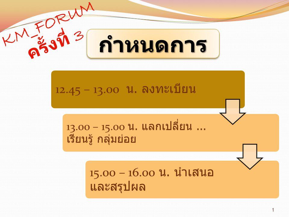1 กำหนดการกำหนดการ 12.45 – 13.00 น. ลงทะเบียน 13.00 – 15.oo น. แลกเปลี่ยน... เรียนรู้ กลุ่มย่อย 15.00 – 16.00 น. นำเสนอ และสรุปผล KM_FORUM ครั้งที่ 3