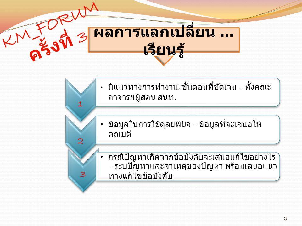 3 KM_FORUM ครั้งที่ 3 1 มีแนวทางการทำงาน / ขั้นตอนที่ชัดเจน – ทั้งคณะ อาจารย์ผู้สอน สนท.