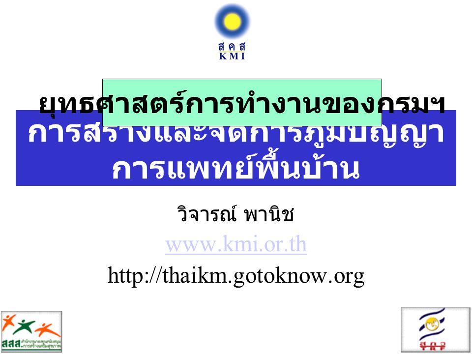 การสร้างและจัดการภูมิปัญญา การแพทย์พื้นบ้าน วิจารณ์ พานิช www.kmi.or.th http://thaikm.gotoknow.org ยุทธศาสตร์การทำงานของกรมฯ