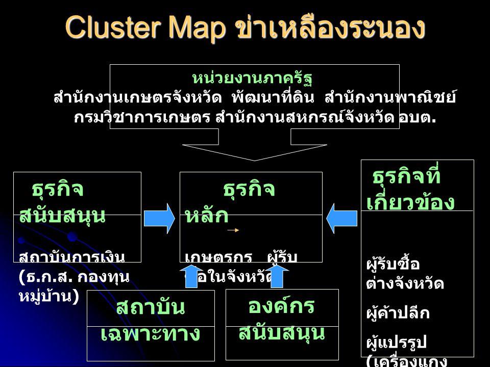 Cluster Map ข่าเหลืองระนอง หน่วยงานภาครัฐ สำนักงานเกษตรจังหวัด พัฒนาที่ดิน สำนักงานพาณิชย์ กรมวิชาการเกษตร สำนักงานสหกรณ์จังหวัด อบต.