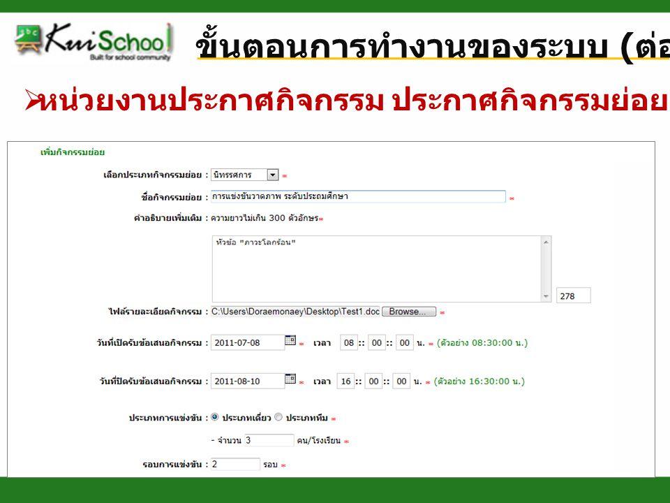 ขั้นตอนการทำงานของระบบ ( ต่อ )  หน่วยงานประกาศกิจกรรม เลือกโรงเรียนที่เข้าร่วม
