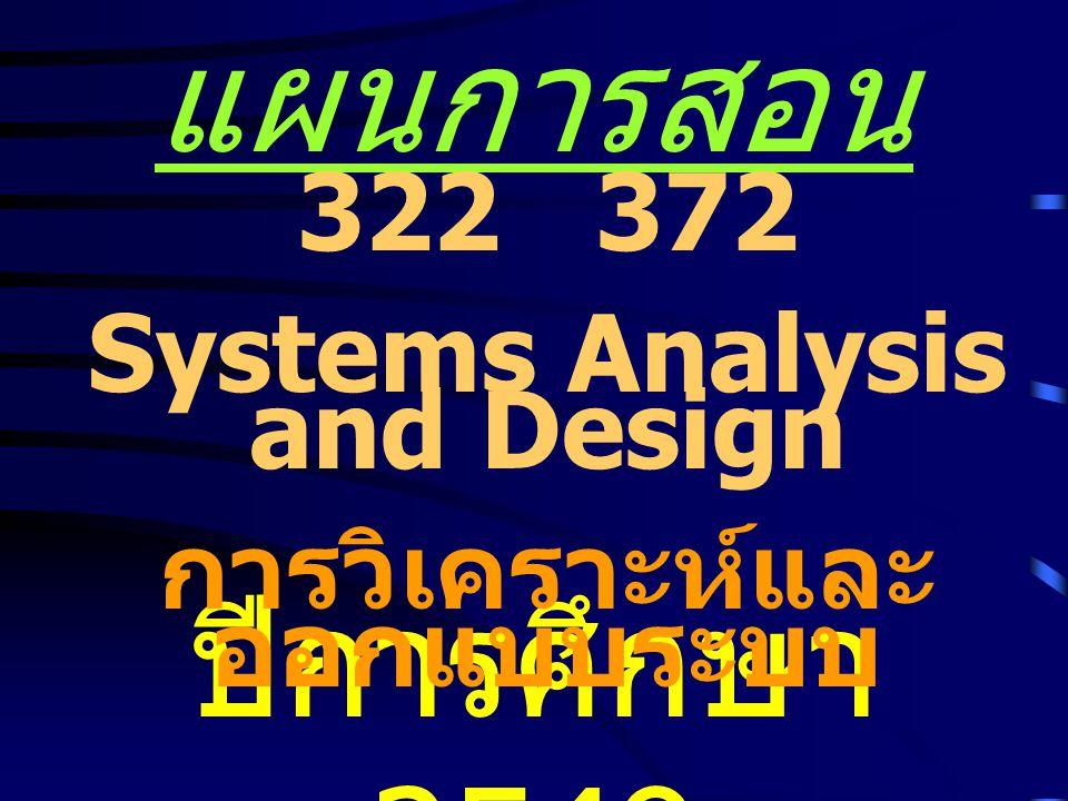 แผนการสอน ปีการศึกษา 2549 322 372 Systems Analysis and Design การวิเคราะห์และ ออกแบบระบบ