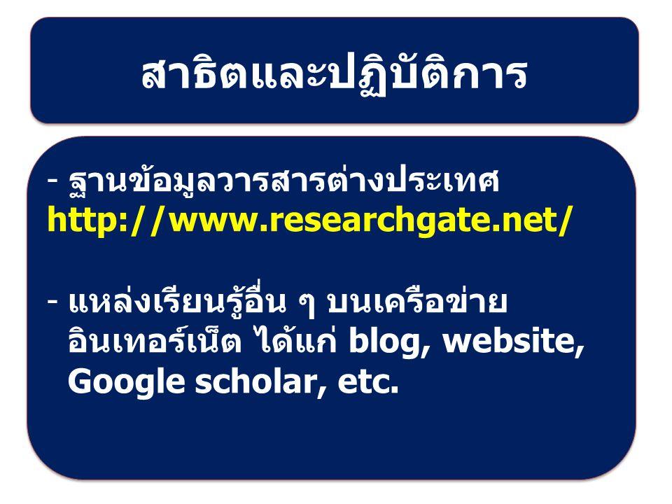 สาธิตและปฏิบัติการ - ฐานข้อมูลวารสารต่างประเทศ http://www.researchgate.net/ - แหล่งเรียนรู้อื่น ๆ บนเครือข่าย อินเทอร์เน็ต ได้แก่ blog, website, Google scholar, etc.