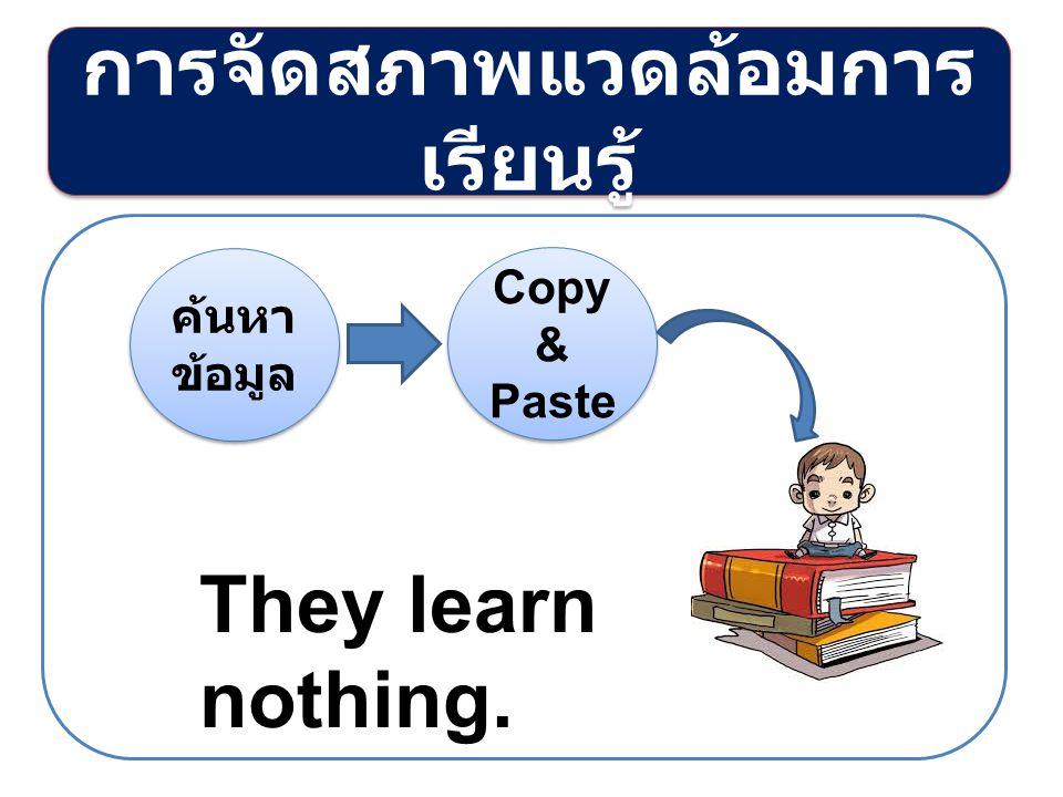 การจัดสภาพแวดล้อมการ เรียนรู้ ค้นหา ข้อมูล Copy & Paste They learn nothing.